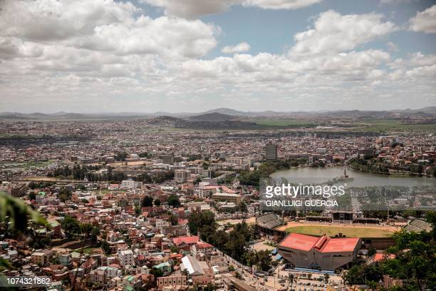This picture taken on December 17 shows a general view of the capital of Madagascar Antananarivo Two former presidents of Madagascar Andry Rajoelina...
