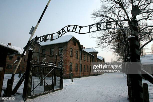 This picture taken on December 18 2009 shows a replica hung in place of the stolen infamous 'Arbeit macht frei' sign at the former Nazi death camp...
