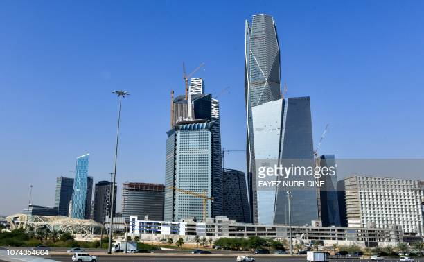 This picture taken on December 18 2018 shows a view of skyscrapers in King Abdullah financial district in the Saudi capital Riyadh