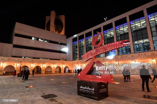 This picture taken on December 18, 2020 shows a view of the sculpture marking the 31st edition of the Carthage Film Days film festival at the...