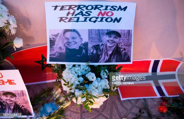 This picture taken on December 21 2018 shows a combo photo murdered Danish student Louisa Vesterager Jespersen and Nowegian Maren Ueland placed on...