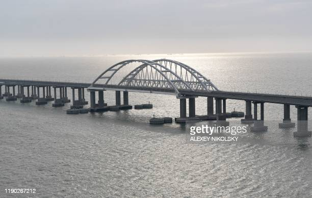This picture taken on December 23 shows the Crimean Bridge that spans the Kerch Strait a narrow strip that links the Azov and Black seas The Russian...