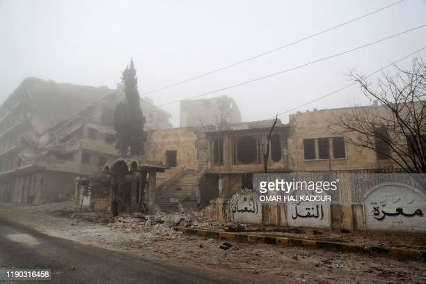 This picture taken on December 24, 2019 shows a view of an abandoned local administration building in Maaret Al-Numan in the northwestern Idlib...