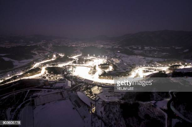 This picture taken on December 28 2017 in Pyeongchang shows the Alpensia CrossCountry Skiing Centre and Alpensia Biathlon Centre venues for the 2018...