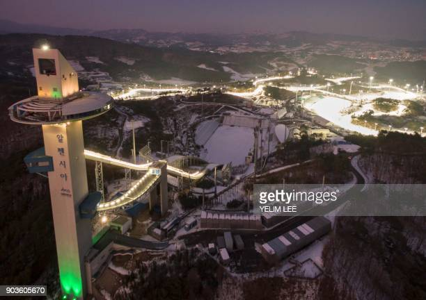 This picture taken on December 28 2017 in Pyeongchang shows the Alpensia Ski Jumping Centre a venue for the 2018 Pyeongchang Winter Olympics...
