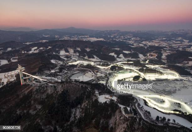 This picture taken on December 28 2017 in Pyeongchang shows the Alpensia Ski Jumping Centre Alpensia CrossCountry Skiing Centre and Alpensia Biathlon...