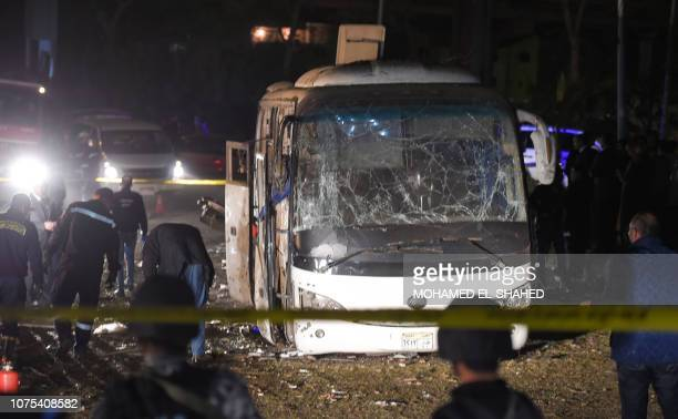 This picture taken on December 28 2018 shows the scene of an attack on a tourist in Giza province south of the Egyptian capital Cairo Three...