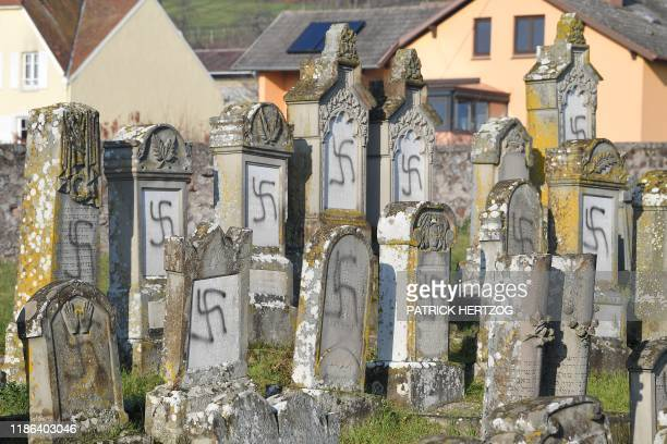 This picture taken on December 4 shows the jewish Westhoffen cemetery near Strasbourg, eastern France, where 107 graves were found vandalised with...