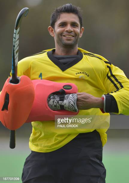 This picture taken on December 5 2012 shows goal keeper Imran Shah of Pakistan posing for a portrait during a practice session at the Men's Hockey...