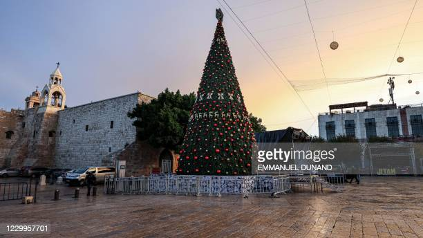 This picture taken on December 5, 2020 shows a view of the scene before the lighting of the Christmas tree in the biblical city of Bethlehem in the...