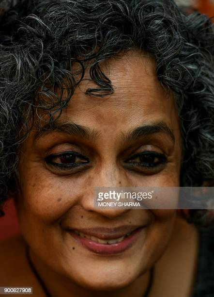 This picture taken on December 8 2017 shows Indian author Arundhati Roy during an interview with AFP in New Delhi She may have returned to publishing...