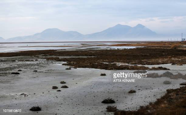 This picture taken on December 8 2018 shows a general view of Iran's salt lake of Urmia in the country's northwest which had been shrinking in one of...