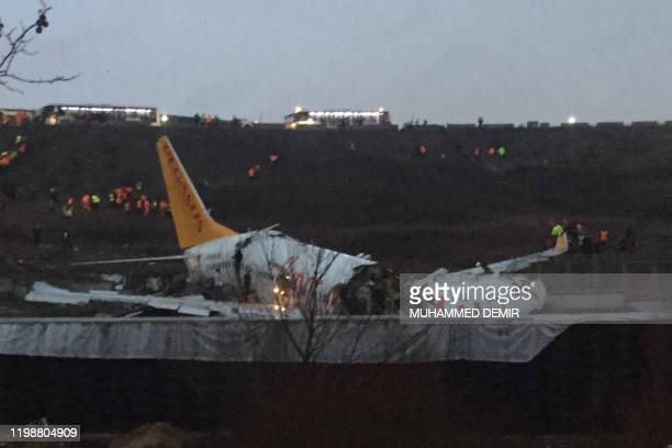 TOPSHOT This picture taken on February 05 shows a Pegasus airlines boeing 737 plane after it skidded off the runway at Istanbul's Sabiha Gokcen...