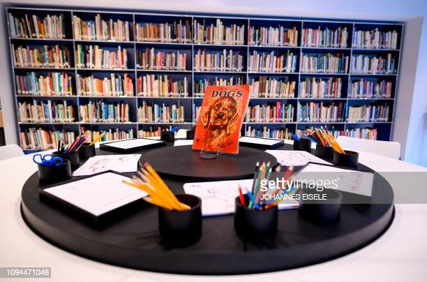 This picture taken on February 1 2019 in New York City shows a painting area for kids in The American Kennel Club Museum of the Dog Dogs play cameo...
