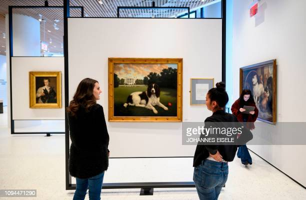 This picture taken on February 1 2019 in New York City shows two workers at The American Kennel Club Museum of the Dog looking at a painting of...