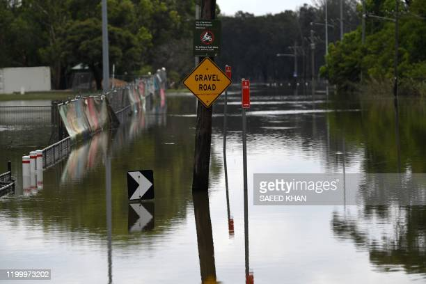 This picture taken on February 10 2020 shows a general view of flooded area in Sydney Heavy rain has given hope to Australia's droughtstricken...
