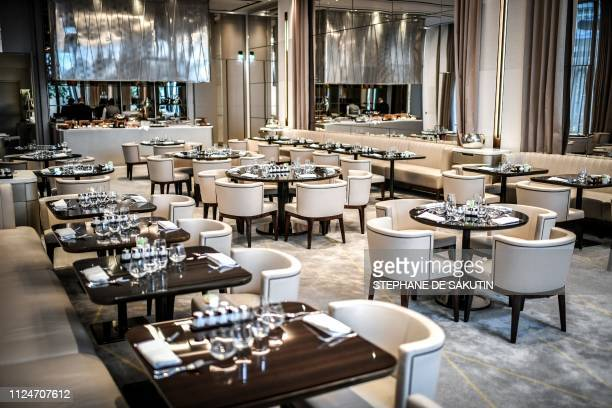 This picture taken on February 12, 2019 shows the Orangerie dining room of the newly-refurbished Lutetia Hotel in Paris. - The iconic, history...