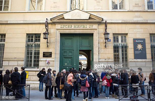 This picture taken on February 16 2010 in Paris shows students gathering in front of Henry IV high school AFP PHOTO LOIC VENANCE