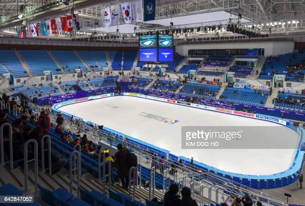 This picture taken on February 17, 2017 shows a general view of the Gangneung Ice Arena, the venue for the Figure Skating and Short Track Speed...
