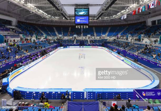 This picture taken on February 17 2017 shows a general view of the Gangneung Ice Arena the venue for the Figure Skating and Short Track Speed Skating...