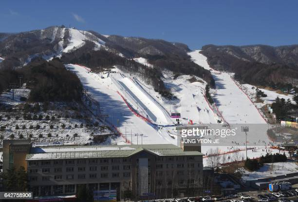 This picture taken on February 18 2017 shows a general view of Bokwang Phoenix Snow Park the venue of the freestyle skiing and snowboard events for...