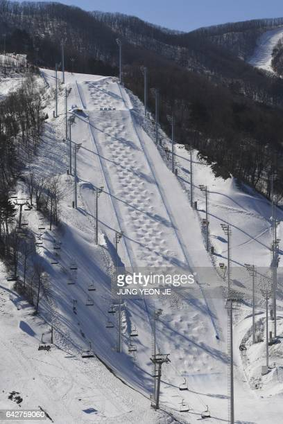 This picture taken on February 18 2017 shows a general view of the moguls course at Bokwang Phoenix Snow Park the venue of the freestyle skiing and...