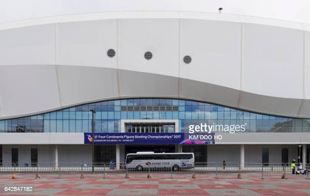 This picture taken on February 18, 2017 shows a general view of the Gangneung Ice Arena, the venue for the Figure Skating and Short Track Speed...