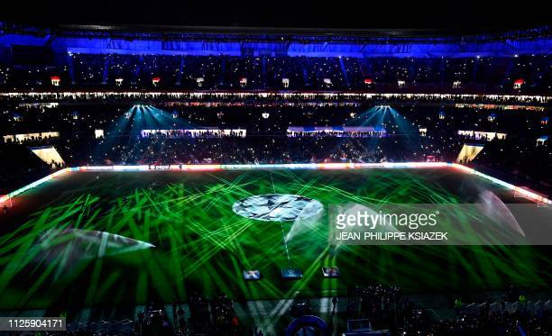 This picture taken on February 19 2019 shows the Groupama Stadium prior to the UEFA Champions League round of 16 first leg football match between...