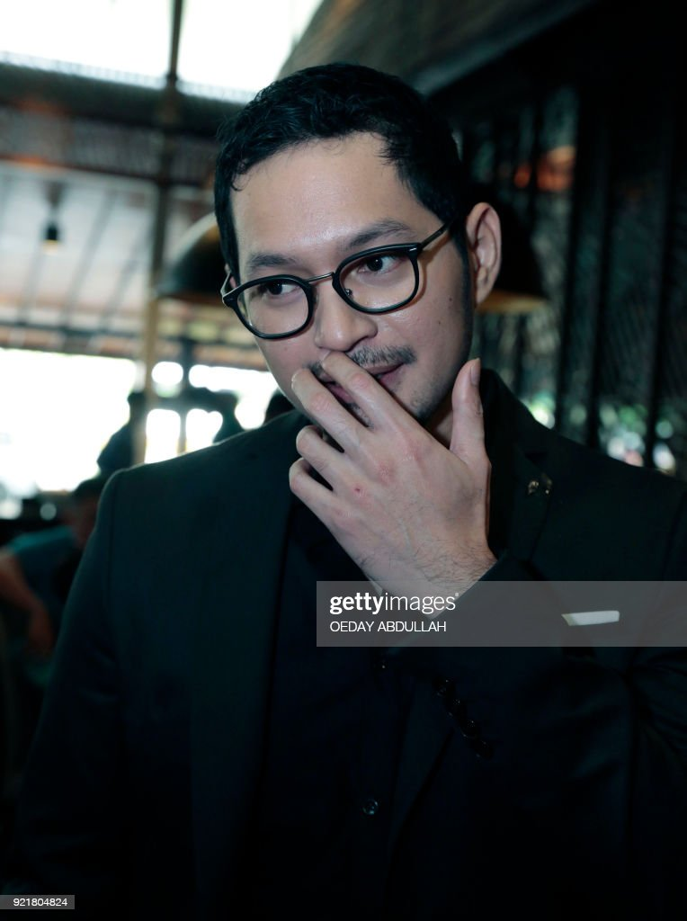 This picture taken on February 20, 2018 shows Indonesian actor Evan Sanders during a promotional event in Jakarta. / AFP PHOTO / Oeday Abdullah