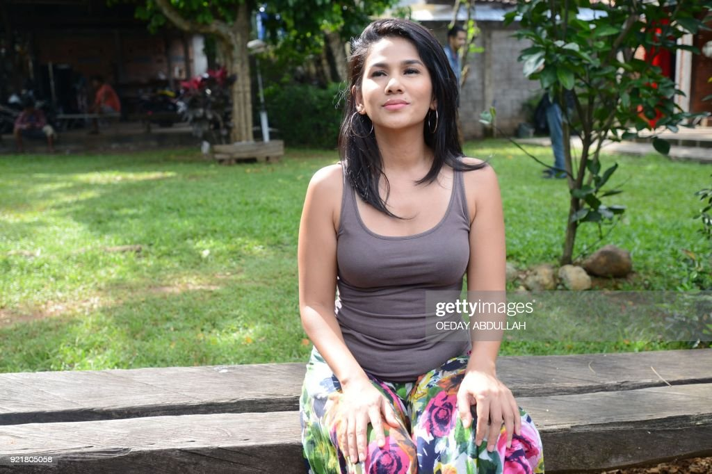 This picture taken on February 20, 2018 shows Indonesian actress Nova Eliza posing during a promotional event in Jakarta