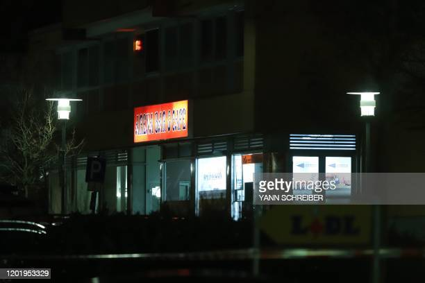 This picture taken on February 20 2020 shows a bar believed to be one of the targets of a shooting in Hanau western Germany At least eight people...