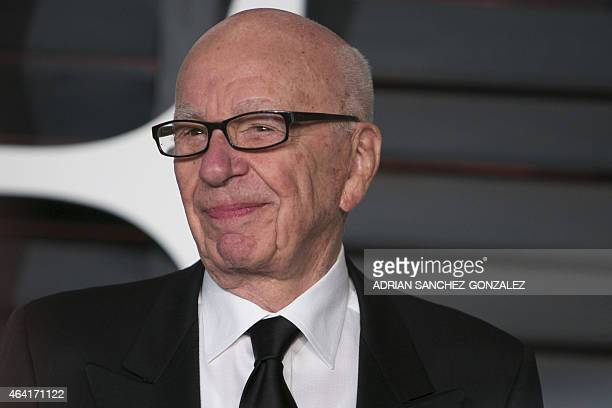 This picture taken on February 22 2015 shows Rupert Murdoch arriving at the 2015 Vanity Fair Oscar Party in Beverly Hills California 21st Century Fox...