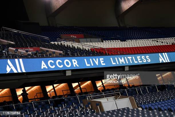 This picture taken on February 22, 2019 shows a view of the Parc des Princes stadium in Paris after a press conference to annonce new shirt...