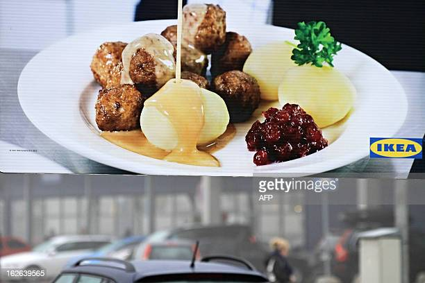 This picture taken on February 25 2013 shows advertising panel showing meatballs in front IKEA department store in Brno Ikea pulls meatballs from 14...