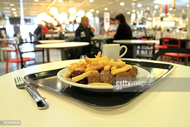 This picture taken on February 25 2013 shows meatballs at IKEA department store in Brno Ikea pulls meatballs from 14 European countries after...