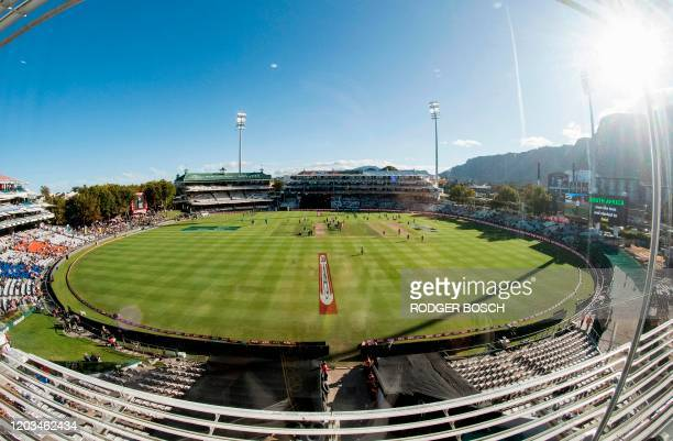 This picture taken on February 26 shows a view of Newlands Cricket Stadium before the start of the third and deciding T20 cricket match in the three...