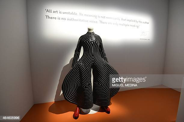 This picture taken on February 27 2015 shows a costume created by Japanese fashion designer Kansai Yamamoto and used by David Bowie during a press...