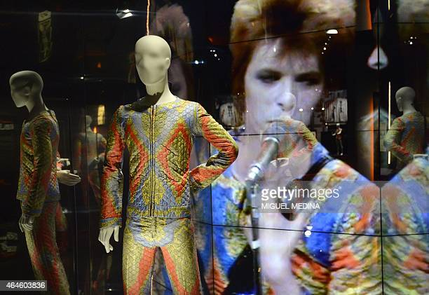 This picture taken on February 27 2015 shows a Ziggy Stardust costume inspired by Stanley Kubrick's movie Clockwork Orange and used on stage by David...