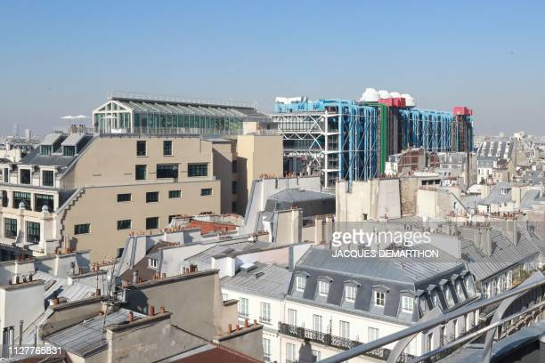 This picture taken on February 27 2019 from the rooftop of BVH department store in Le Marais neighbourhood shows a view of the neighbourhood of...
