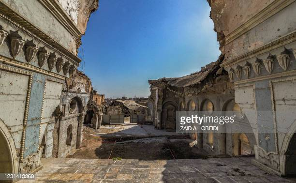 This picture taken on February 27, 2021 shows a view of the Syriac Catholic Church of the Immaculate Conception in the old city of Iraq's northern...