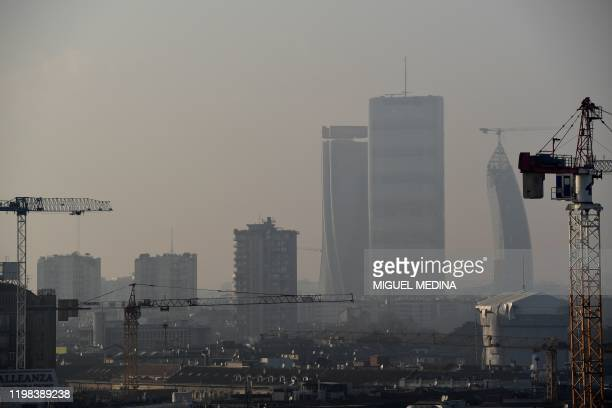 This picture taken on February 3 shows the air pollution at the City Life district of Milan.