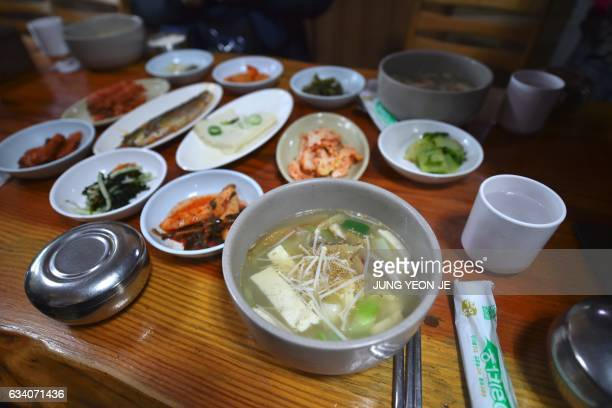 This picture taken on February 4 2017 shows dried pollack hangover soup at a restaurant in Hoenggye town near the venue for the opening and closing...