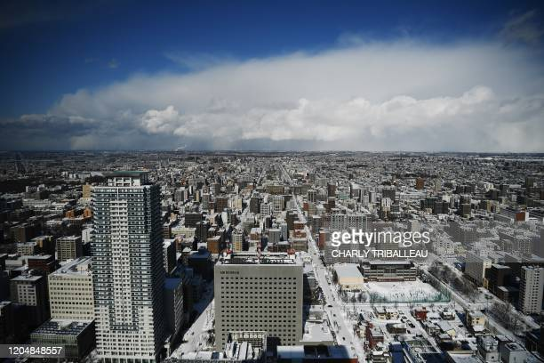 This picture taken on February 4, 2020 shows a general view of Sapporo.
