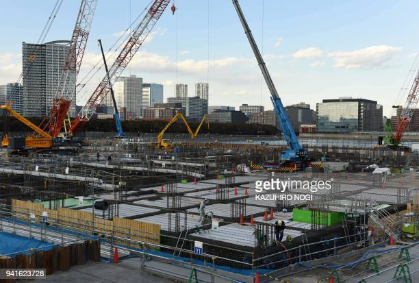 This picture taken on February 6 2018 a general view of the construction site for the Tokyo 2020 venue 'Ariake Arena' in Tokyo The new facility will...