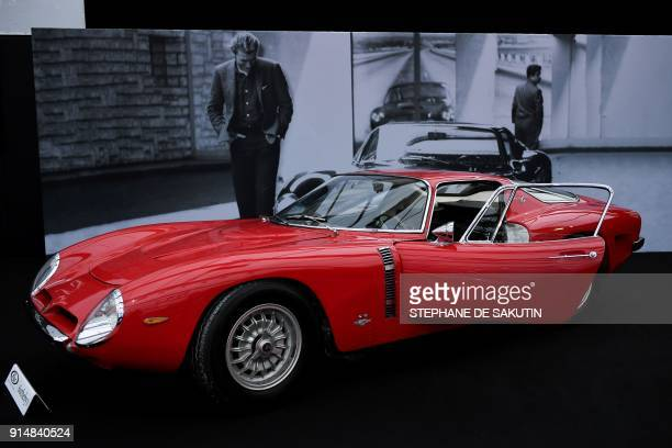 TOPSHOT This picture taken on February 6 2018 in Paris shows a 1964 Iso Grifo A3C car that belonged to late French Rock star Johnny Hallyday on...
