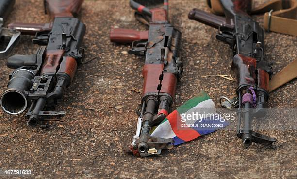 This picture taken on February 7 at the Mpoko camp in Bangui shows weapons as French soldiers of the Sangaris military operation show to journalists...
