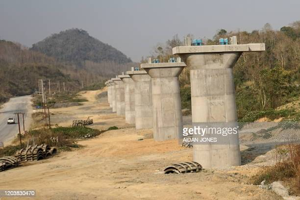 This picture taken on February 8, 2020 shows a part of the first rail line linking China to Laos, a key part of Beijing's 'Belt and Road' project...
