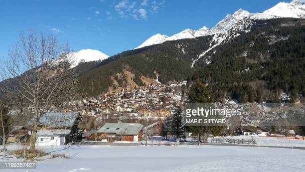 This picture taken on February 8 shows a general view of Les Contamines-Montjoie, near Mont Blanc in the French Alps, where five British nationals...