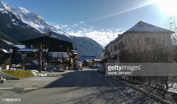 This picture taken on February 8 shows the main street in Les Contamines-Montjoie, near Mont Blanc in the French Alps, where five British nationals...