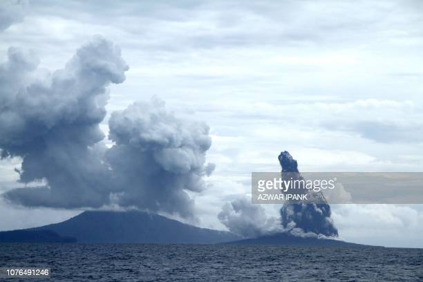 This picture taken on January 1 2019 shows the Anak Krakatoa volcano which caused the December 22 2018 tsunami erupting in the Sunda Straits between...
